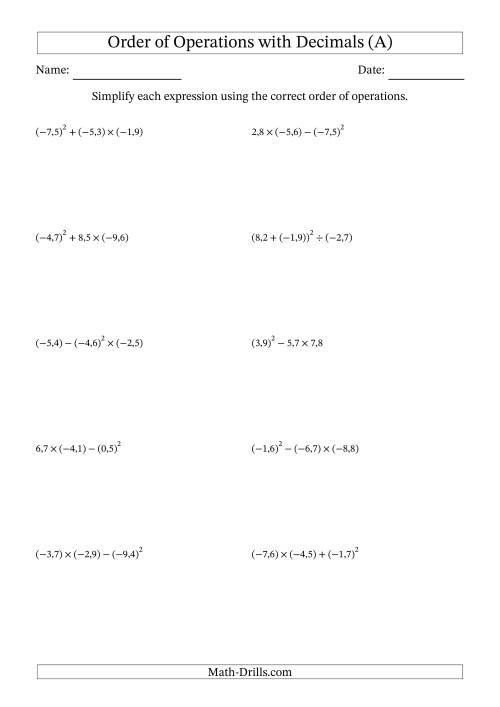 The Order of Operations with Negative and Positive Decimals (Three Steps; Comma Decimal Format) (A) Math Worksheet