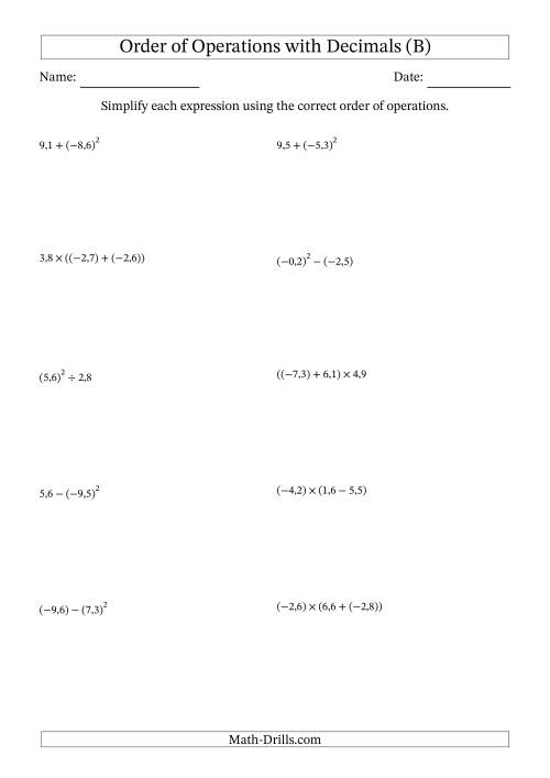 The Order of Operations with Negative and Positive Decimals (Two Steps; Comma Decimal Format) (B) Math Worksheet