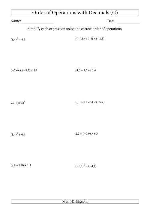 The Order of Operations with Negative and Positive Decimals (Two Steps; Comma Decimal Format) (G) Math Worksheet