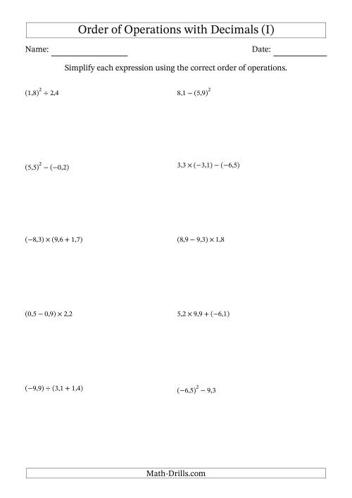 The Order of Operations with Negative and Positive Decimals (Two Steps; Comma Decimal Format) (I) Math Worksheet