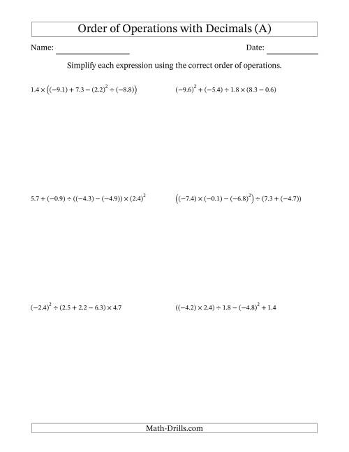 The Order of Operations with Negative and Positive Decimals (Five Steps) (A) Math Worksheet