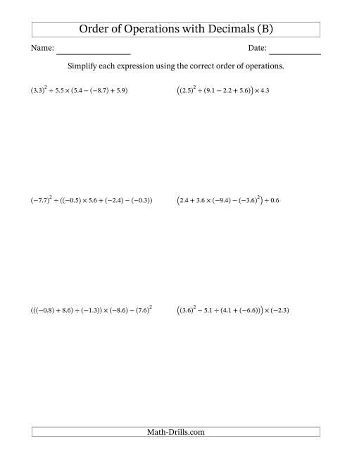 The Order of Operations with Negative and Positive Decimals (Five Steps) (B) Math Worksheet