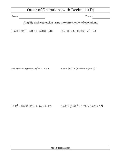 The Order of Operations with Negative and Positive Decimals (Five Steps) (D) Math Worksheet
