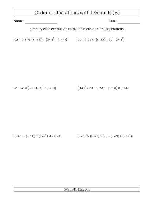 The Order of Operations with Negative and Positive Decimals (Five Steps) (E) Math Worksheet