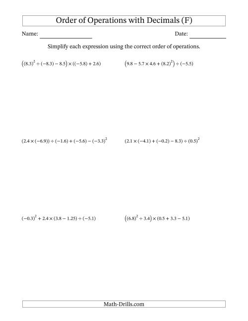 The Order of Operations with Negative and Positive Decimals (Five Steps) (F) Math Worksheet