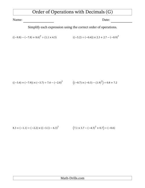The Order of Operations with Negative and Positive Decimals (Five Steps) (G) Math Worksheet
