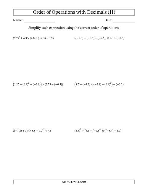 The Order of Operations with Negative and Positive Decimals (Five Steps) (H) Math Worksheet