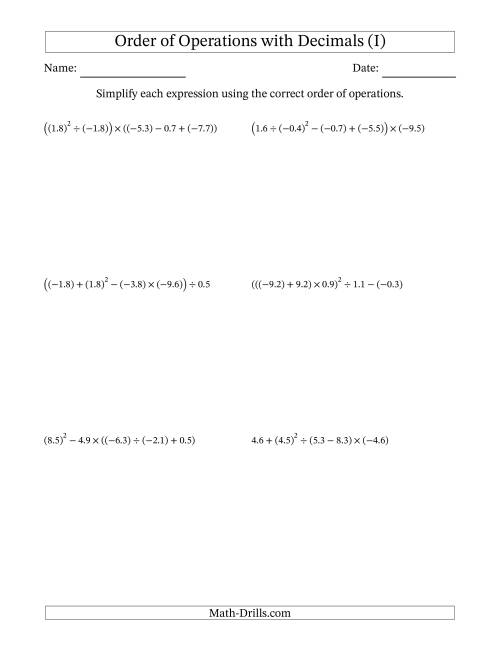 The Order of Operations with Negative and Positive Decimals (Five Steps) (I) Math Worksheet