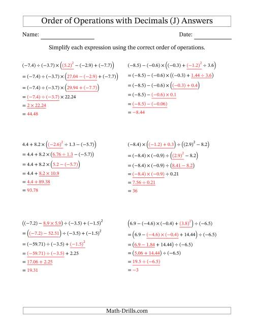 The Order of Operations with Negative and Positive Decimals (Five Steps) (J) Math Worksheet Page 2