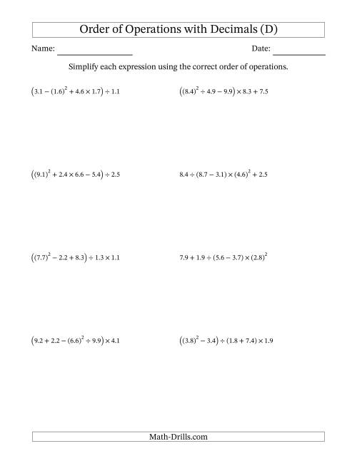The Order of Operations with Positive Decimals (Five Steps) (D) Math Worksheet