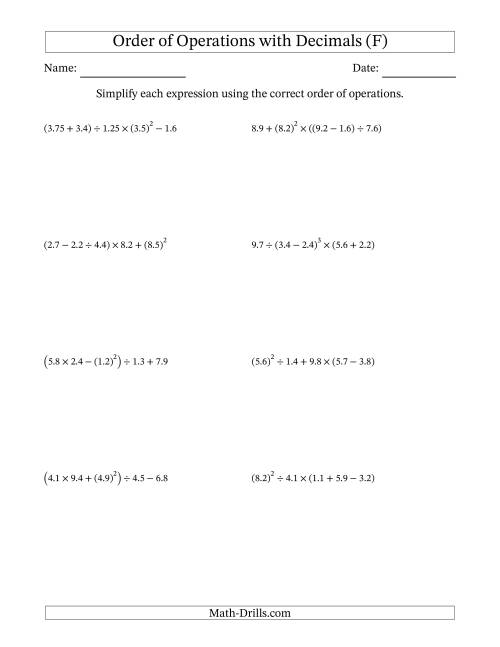 The Order of Operations with Positive Decimals (Five Steps) (F) Math Worksheet