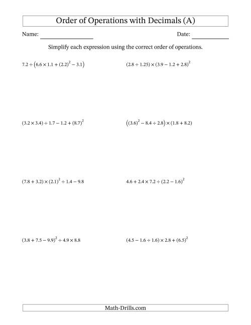 The Order of Operations with Positive Decimals (Five Steps) (All) Math Worksheet