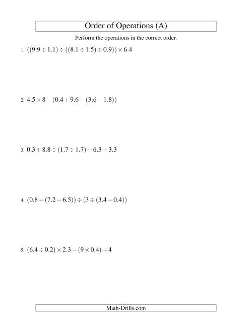 The Decimals Order of Operations -- Five Steps (Old) Math Worksheet