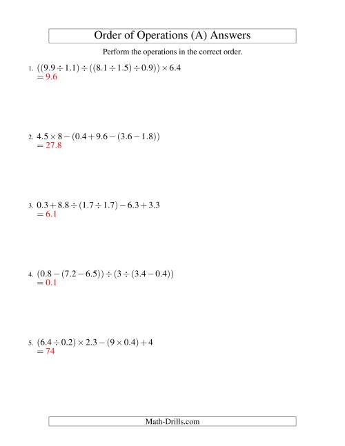 The Decimals Order of Operations -- Five Steps (Old) Math Worksheet Page 2