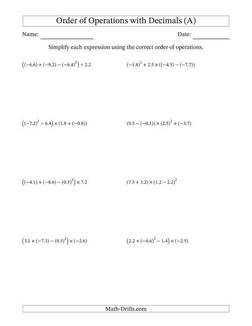 The Order of Operations with Negative and Positive Decimals (Four Steps) (A) Math Worksheet