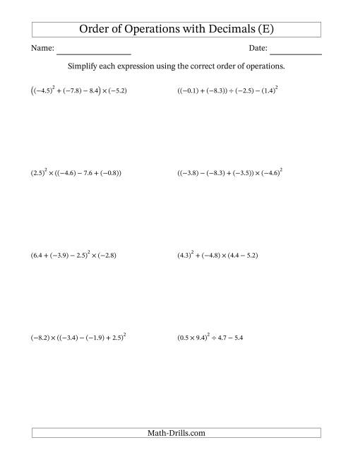 The Order of Operations with Negative and Positive Decimals (Four Steps) (E) Math Worksheet