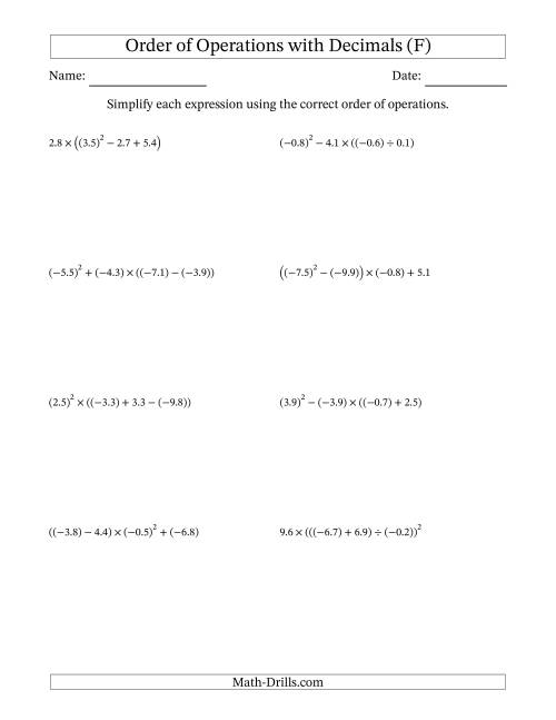 The Order of Operations with Negative and Positive Decimals (Four Steps) (F) Math Worksheet