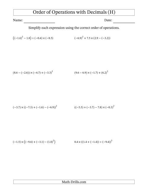 The Order of Operations with Negative and Positive Decimals (Four Steps) (H) Math Worksheet
