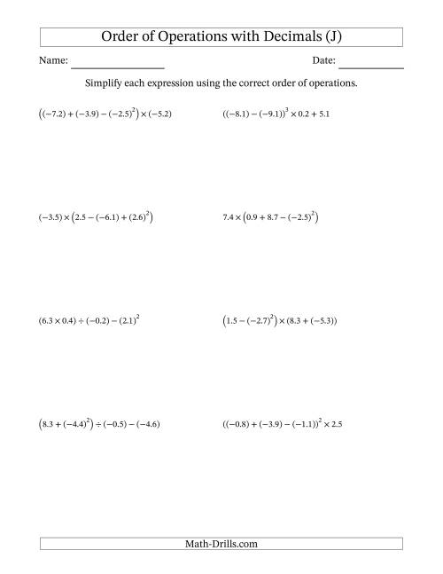 The Order of Operations with Negative and Positive Decimals (Four Steps) (J) Math Worksheet