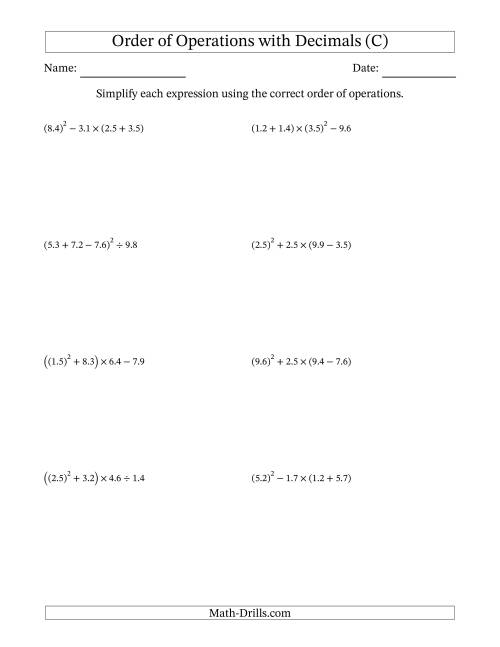 The Order of Operations with Positive Decimals (Four Steps) (C) Math Worksheet