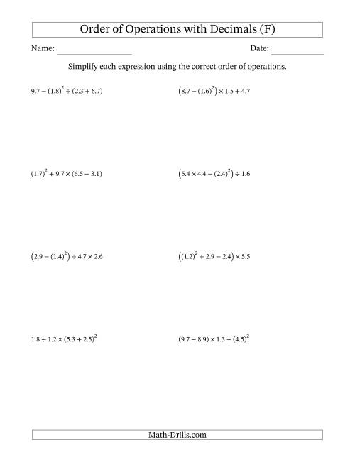 The Order of Operations with Positive Decimals (Four Steps) (F) Math Worksheet