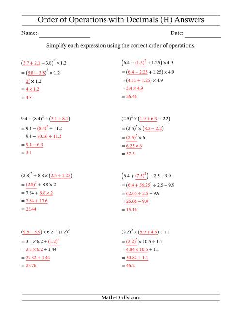 The Order of Operations with Positive Decimals (Four Steps) (H) Math Worksheet Page 2