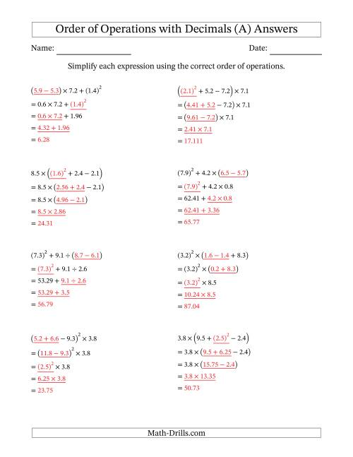 The Order of Operations with Positive Decimals (Four Steps) (All) Math Worksheet Page 2
