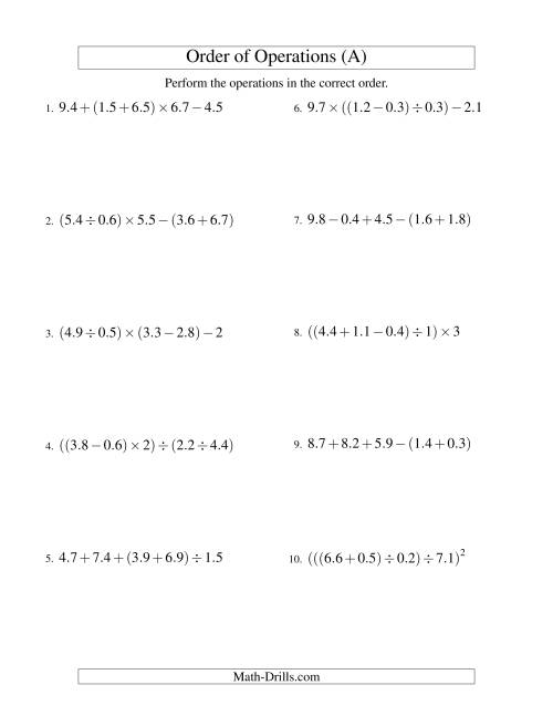 The Decimals Order of Operations -- Four Steps (Old) Math Worksheet