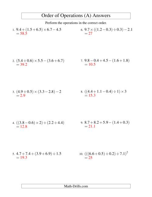 The Decimals Order of Operations -- Four Steps (Old) Math Worksheet Page 2