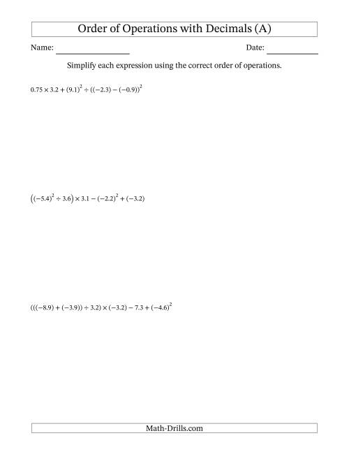 The Order of Operations with Negative and Positive Decimals (Six Steps) (A) Math Worksheet