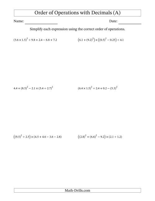 The Order of Operations with Positive Decimals (Six Steps) (A) Math Worksheet
