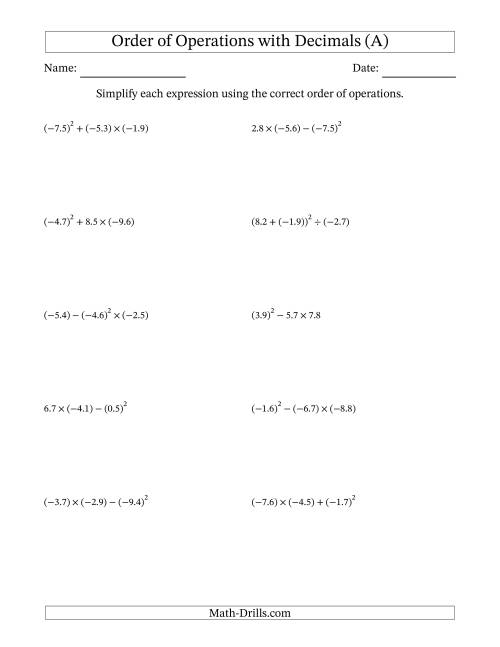 math worksheet : decimals order of operations  three steps including negative  : Ordering Decimal Worksheets