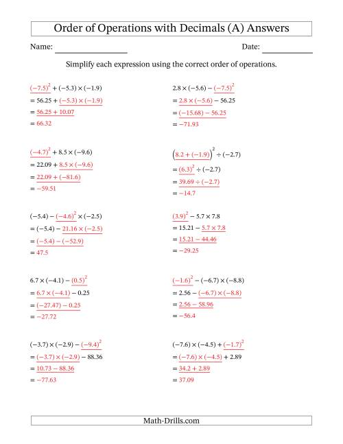 The Order of Operations with Negative and Positive Decimals (Three Steps) (A) Math Worksheet Page 2