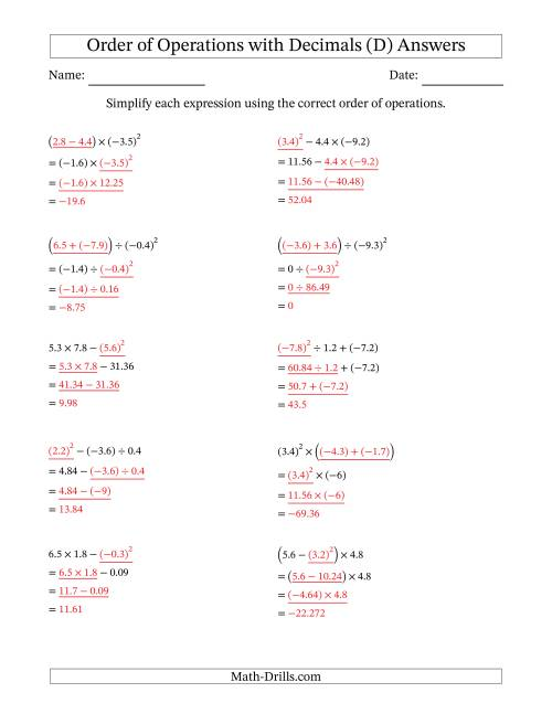 The Order of Operations with Negative and Positive Decimals (Three Steps) (D) Math Worksheet Page 2