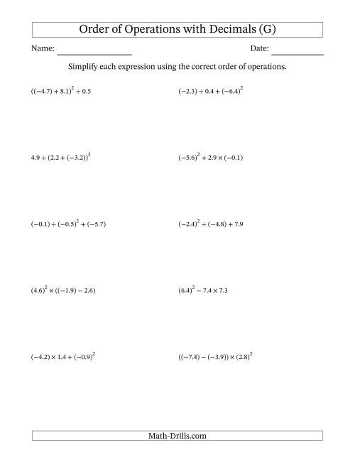 The Order of Operations with Negative and Positive Decimals (Three Steps) (G) Math Worksheet