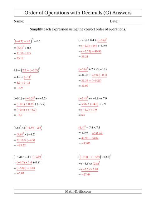 The Order of Operations with Negative and Positive Decimals (Three Steps) (G) Math Worksheet Page 2