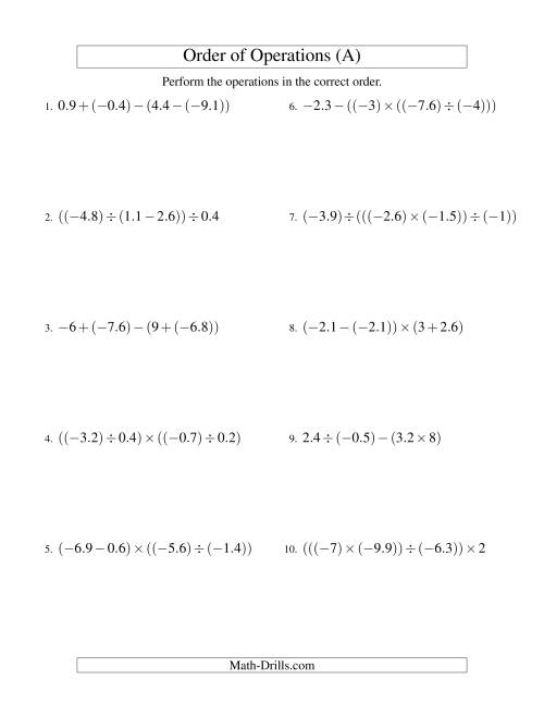 The Decimals Order of Operations -- Three Steps Including Negative Decimals (Old) Math Worksheet