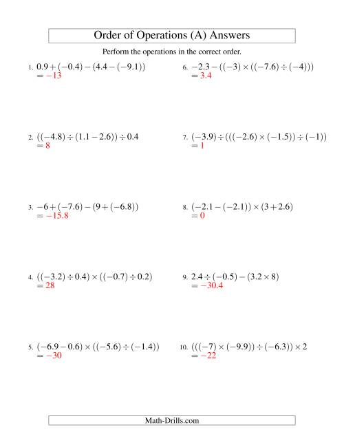 The Decimals Order of Operations -- Three Steps Including Negative Decimals (Old) Math Worksheet Page 2