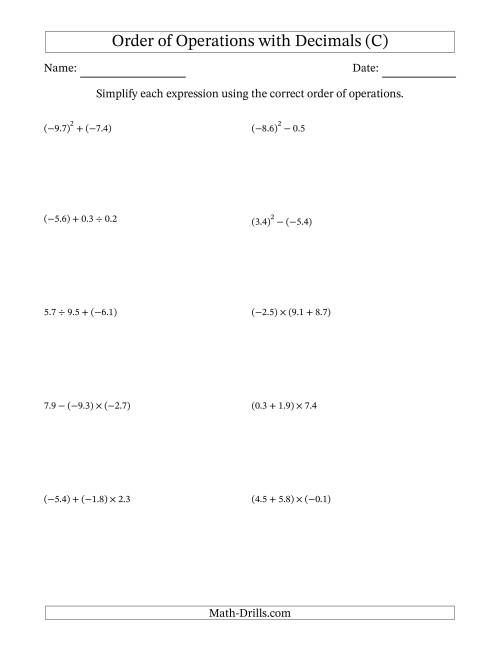 The Order of Operations with Negative and Positive Decimals (Two Steps) (C) Math Worksheet