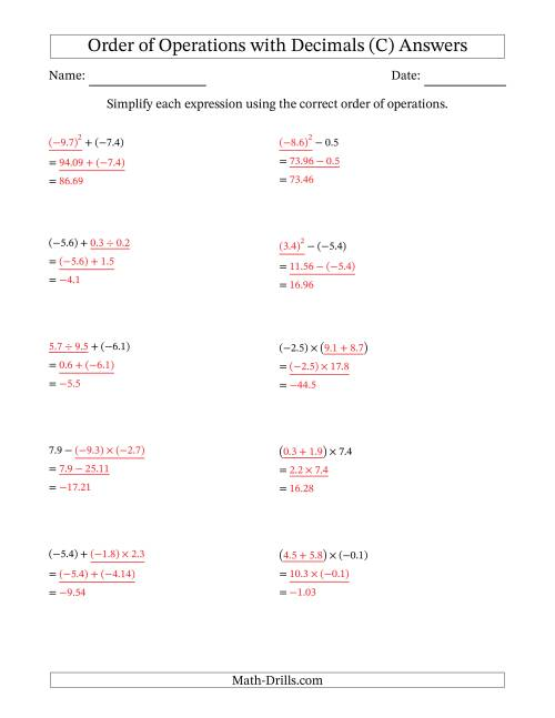 The Order of Operations with Negative and Positive Decimals (Two Steps) (C) Math Worksheet Page 2