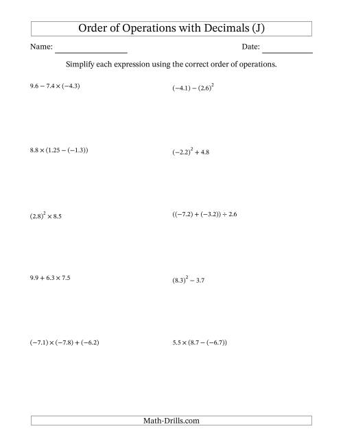 The Order of Operations with Negative and Positive Decimals (Two Steps) (J) Math Worksheet