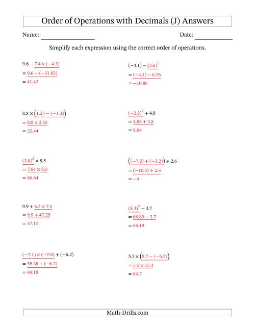 The Order of Operations with Negative and Positive Decimals (Two Steps) (J) Math Worksheet Page 2
