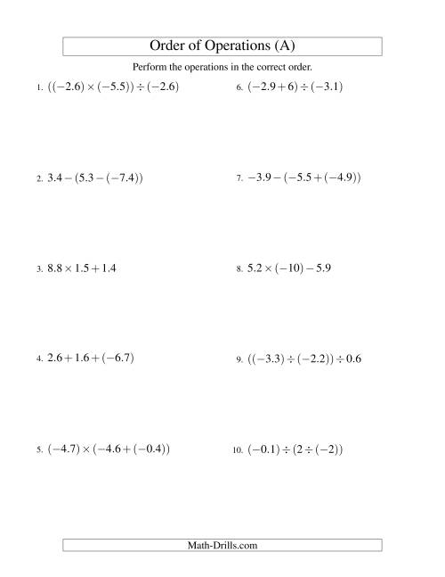 The Decimals Order of Operations -- Two Steps Including Negative Decimals (Old) Math Worksheet