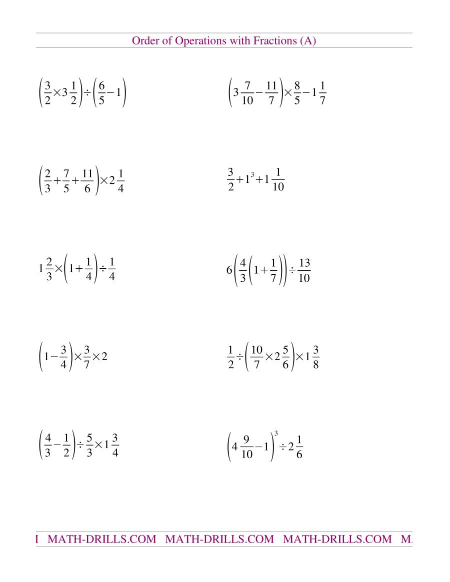 Old Order Of Operations Worksheet A