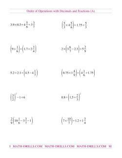Order Of Operations Worksheets Volume Worksheets Grade 7 Fractions \u0026 Decimals Mixed Order Of Operations