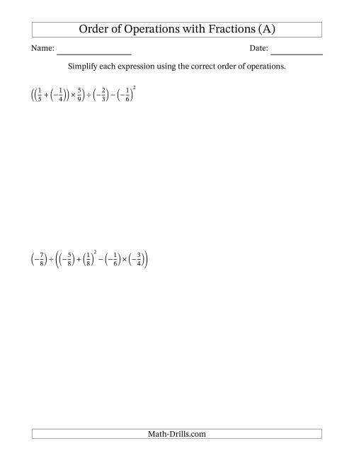 math worksheet : fractions order of operations  five steps including negative  : Negative Fractions Worksheet