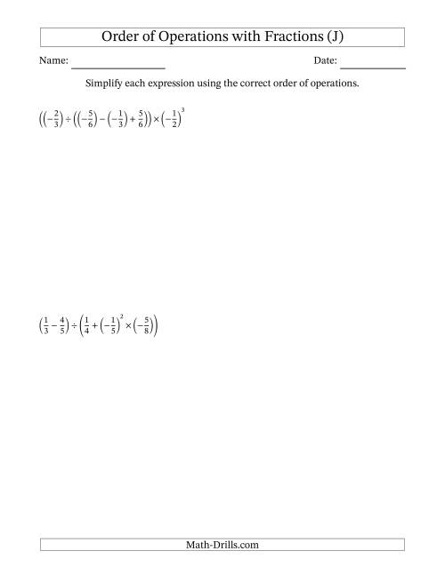 The Order of Operations with Negative and Positive Fractions (Five Steps) (J) Math Worksheet