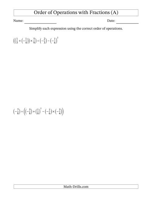 The Order of Operations with Negative and Positive Fractions (Five Steps) (All) Math Worksheet
