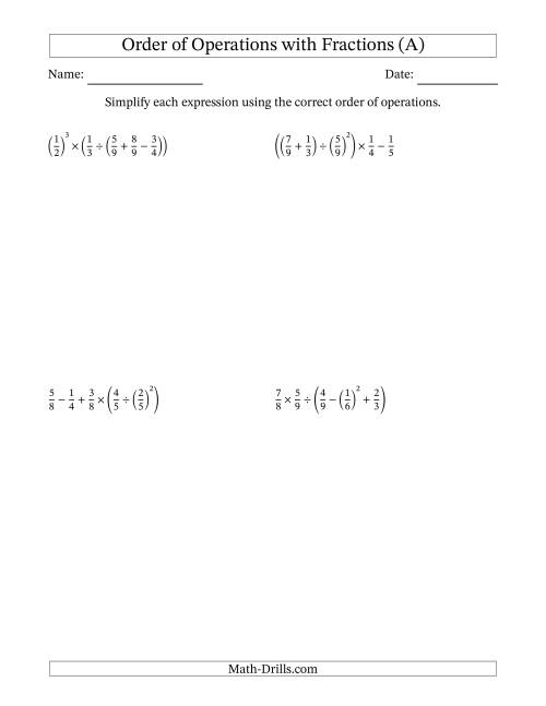 The Order of Operations with Positive Fractions (Five Steps) (A) Math Worksheet