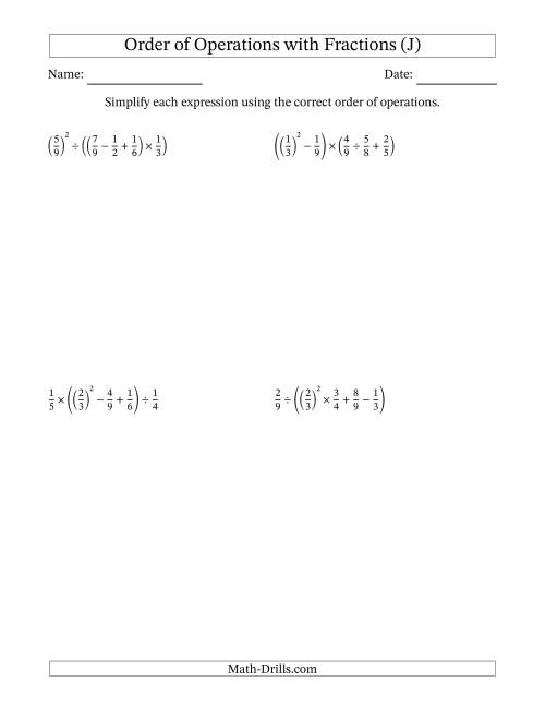 The Order of Operations with Positive Fractions (Five Steps) (J) Math Worksheet